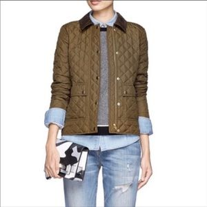 J. Crew Olive Quilted Tack Barn Puffer Down Coat